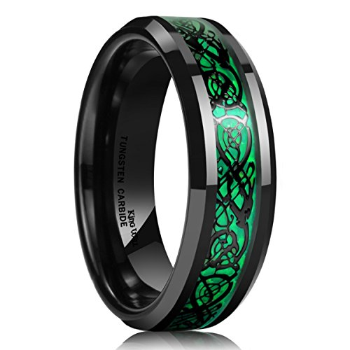 King Will Womens 5mm Green Carbon Fiber Black Celtic Dragon Tungsten Carbide Ring Comfort Fit Wedding Band