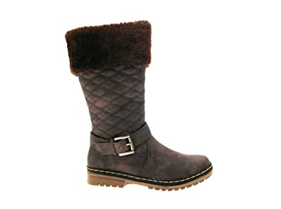 NEW WOMENS LUXURY FUR LINED CUFF QUILTED SNOW BOOTS WINTER WARM MID CALF  BIKER FLAT GIRLS
