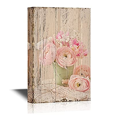 Canvas Wall Art - Pink Ranunculus Flowers and Letters on Vintage Style Wood Background - Gallery Wrap Modern Home Art | Ready to Hang - 12x18 inches