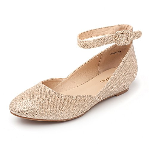 DREAM PAIRS Women's Revona Gold Glitter Low Wedge Ankle Strap Flats Shoes - 8 B(M) US
