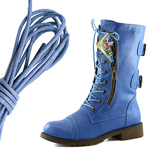 DailyShoes Womens Military Lace Up Buckle Combat Boots Mid Knee High Exclusive Credit Card Pocket, Royal Blue Blue Skies