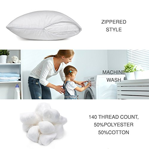Zippered Pillow Protectors Hypoallergenic Cotton/Poly Breathable Pillow Covers Soft and Quiet (Set of 2 Queen Size) White Pillow Cases - bedroomdesign.us
