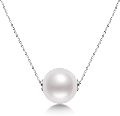 """14k White Gold Chain Pearl Necklace 18/"""""""