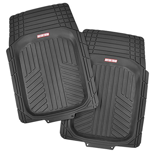 2 Front FlexTough Contour Liners - Deep Dish Heavy Duty Rubber Floor Mats for Car SUV Truck & Van - All Weather Protection - Odorless (Black)