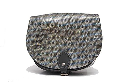 Metallisch GlŠnzende Silberquadrate Leder Sattel Crossbody Handtasche mit Schnalle und verstellbarem Riemen