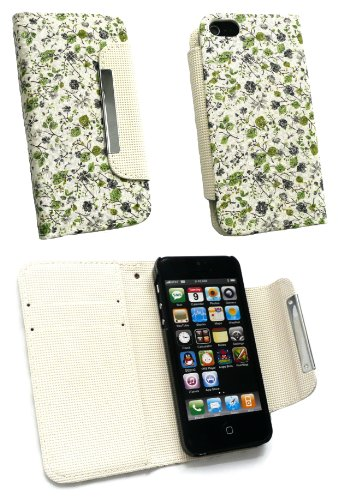 Emartbuy® Apple Iphone 5 5s Luxury Wallet Case / Cover / Pouch Floral Grün With Credit Card Slots