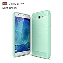 Galaxy J7 2017 Case,Dekaro Rugged Armor Hybrid Herringbone with Flexible Inner Protection Flexible TPU Carbon Fiber Design for Samsung Galaxy J7 2017 Green case