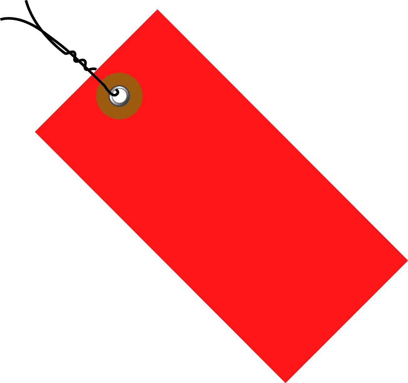 TYVEK Empty-Eyelet Pre-Wired Shipping Blank Tag, Spunbonded Olefin, 5-3/4'' H x 2-7/8'' W, Red (G14073D)