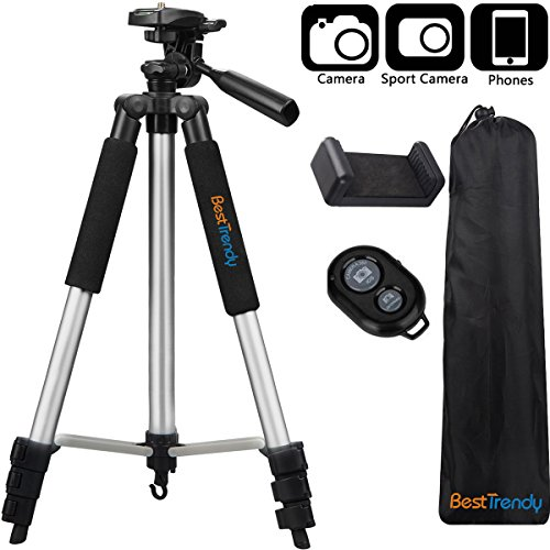 BestTrendy 42-inch Portable Aluminum Camera Tripod, Lightweight Travel Cellphone Mount Stand with Bag, Bluetooth Remote Control for DSLR Cameras, iPhone, Samsung, Gopro (Silver) by BESTTRENDY