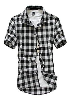 BLTR-Men Cotton Short Sleeve Button Down Shirts Plaid Dress Shirt Tops