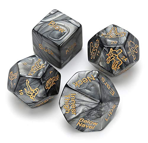 4 Pcs Novelty Game Dice,Funny Gift for Valentine's Day,Honeymoon bacherette Party, Groom Roast,Newlyweds, Wedding, Anniversary, Marriage ()