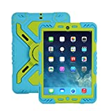 IPad Mini 3 & 2 & 1 Silicone Plastic Kid Proof Extreme heavy Duty Dual armor defender Protective Back Cover Case with Kickstand and Sticker for Apple iPad Mini & iPad Mini with Retina Display & iPad mini 3, Rainproof Sandproof Dust-proof Shockproof childp