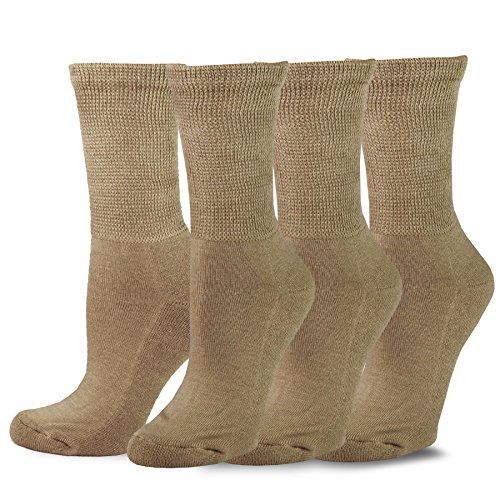 TeeHee Viscose from Bamboo Diabetic Crew Socks 3-Pack (9-11, Khaki)