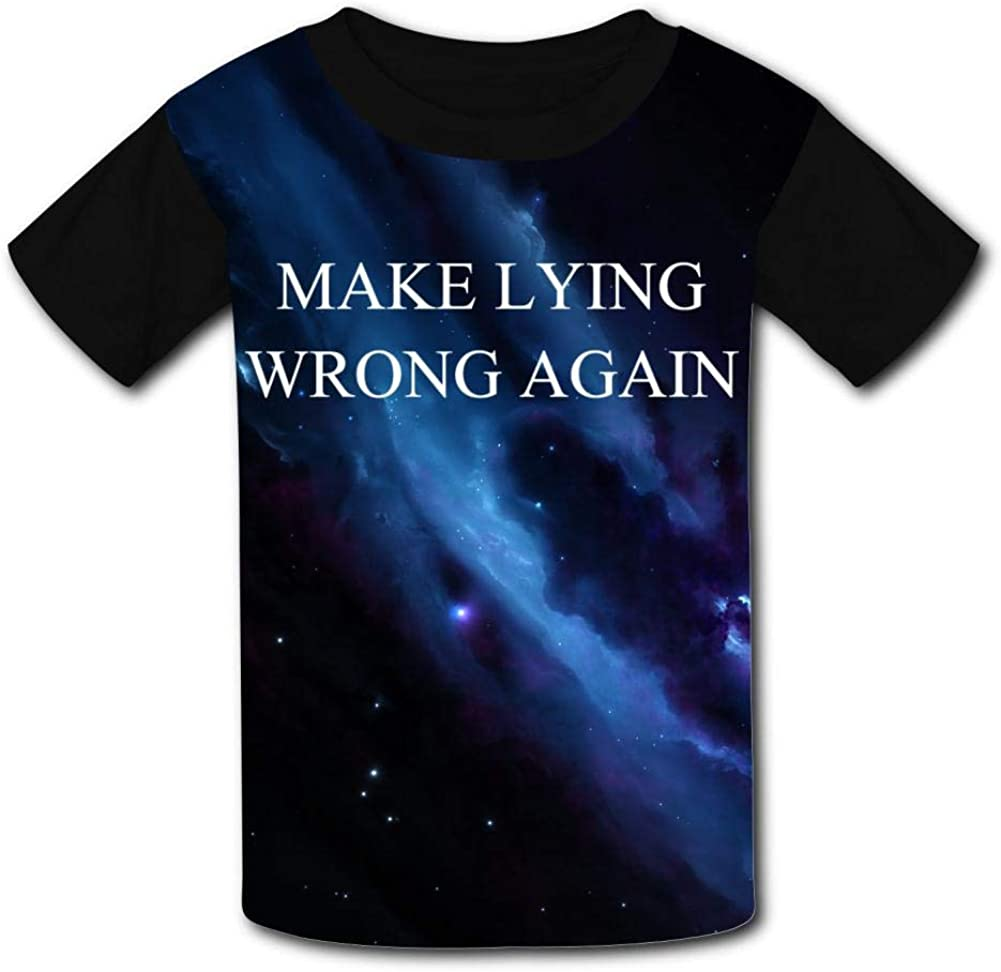 Knwazz Kids T-Shirts Make Lying Wrong Again Cool 3D Printed Short Sleeve Top Tees for Boys Girls