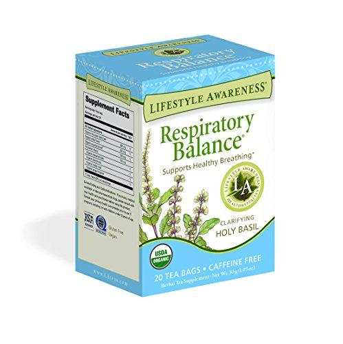 (Lifestyle Awareness Respiratory Balance Tea with Clarifying Holy Basil, Caffeine Free, 20 Tea Bags, Pack of 6)