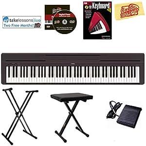 yamaha p 45 digital piano black bundle with adjustable stand bench instructional. Black Bedroom Furniture Sets. Home Design Ideas