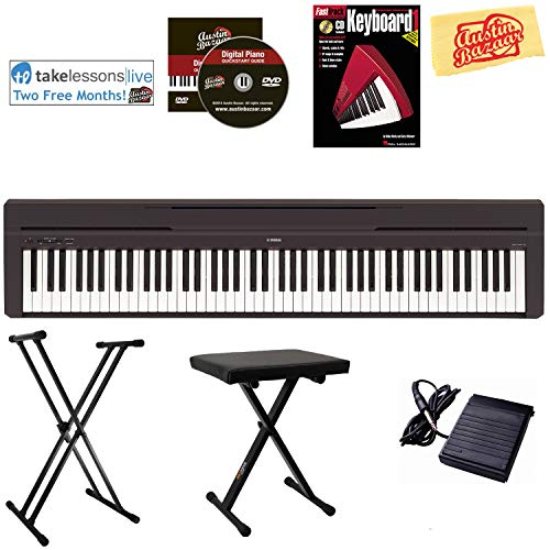 Yamaha P-45 Digital Piano - Black Bundle with Adjustable Sta