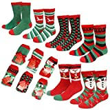 Gilbin's Mens Fuzzy and Soft Christmas Holiday Socks, Anti Slip Socks Sole, 6 Pack, Size 10-13