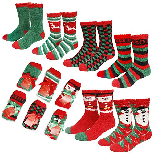 Gilbin's Mens Fuzzy and Soft Christmas Holiday Socks, Anti Slip Socks Sole, 6 Pack, Size 10-13]()
