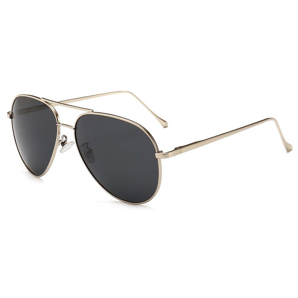 SUNGAIT Women's Lightweight Oversized Aviator sunglasses - Polarized Lens (Sliver Frame/Grey Lens, 60)1603YKH by SUNGAIT
