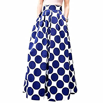 iEFiEL Womens Vintage Polka Dots A-Line Skater Skirt Maxi Wedding Ball Gown