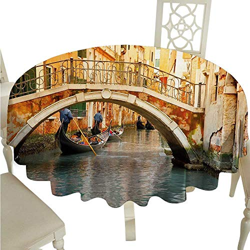 Venice Washable Table Cloth Ancient Bridge and Traditional Gondola Canals of Famous Touristic City Washable Polyester - Great for Buffet Table, Parties, Holiday Dinner, Wedding & More D70 Orange Ivor ()