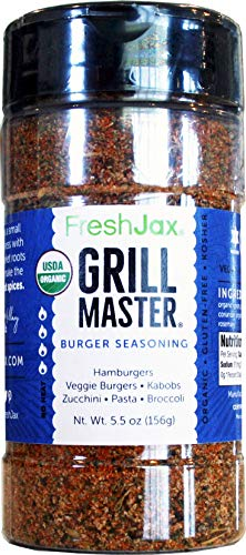FreshJax Gourmet Spices and Seasonings, (Organic Grill Master: Burger Seasoning) Hamburger and Steak Seasoning Large 5.5oz