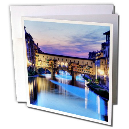 3dRose Florence, Italy Water & Bridge, dusk Greeting Cards, 6