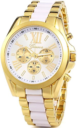 (Unisex Roman Numeral Gold Plated Stainless Steel Two Tone Analog Quartz Watch (White))