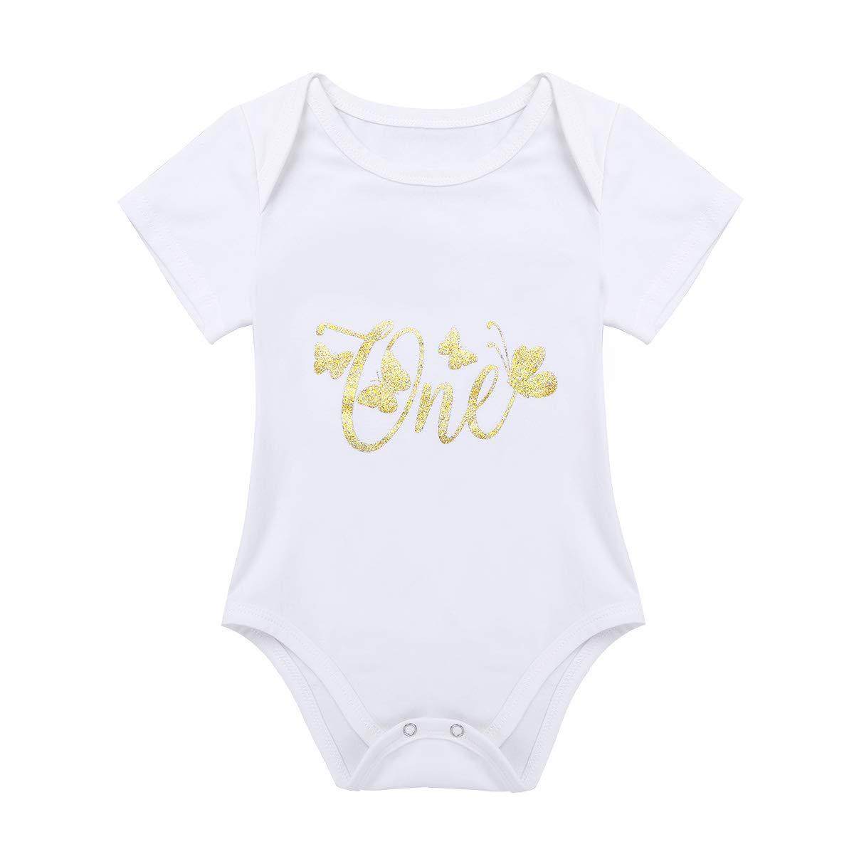 TiaoBug 3pcs Infant Baby Girls 1st Birthday Clothes Set Short Sleeves Romper+Tutu Skirt+Headband