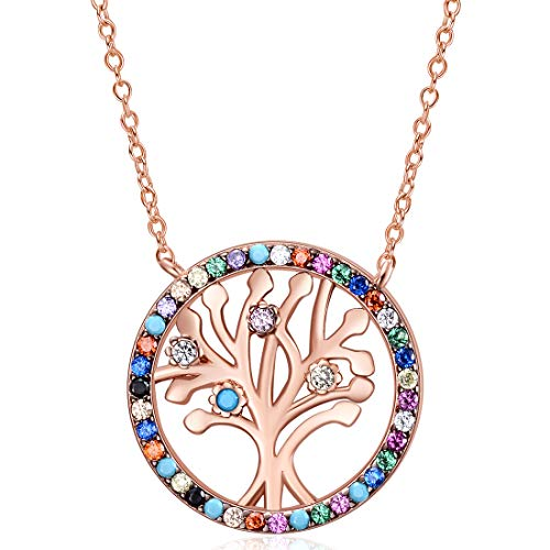 E Family Tree of Life Pendant Chain Necklaces for Woman, Birthstone Turquoise Chokers Gemstone Fashion Jewelry for Teen Girls Rose Gold Rhodium Plated (Rose Gold Plated)