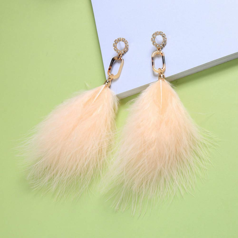 MOLI Feather Earring Bohemian Long drip Dangle Ear Drop Handmade Peacock Feather Earrings Hook with Feather for Women and Girls
