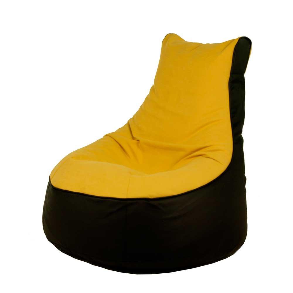 Pharao24 Sessel Sitzsack in Gelb Schwarz modern