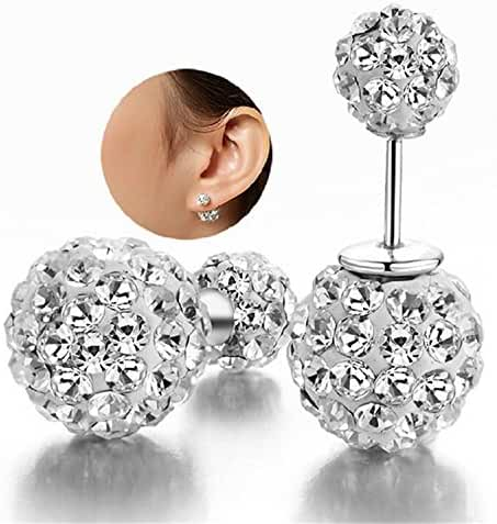 DIB Fashion Jewelry 925 Sterling Silver Double Sided Rhinestone Bling Crystal Balls Tribal Stud Earring