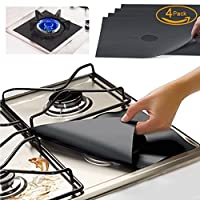Gas Range Protectors - Kitchen Accessories Gas Stove Burner Liners FDA Approved Set Of 4 Black Reusable, Non-Stick Stove Top Burner Protectors By FORHOMER