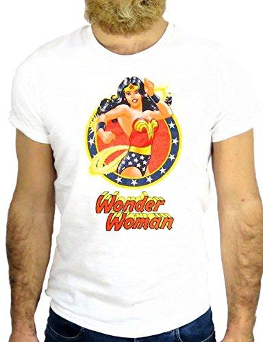 T SHIRT Z0733 WONDER POWER LADY GIRL WOMAN NO COOL CARTOON SUPER HERO GGG24 BIANCA - WHITE L
