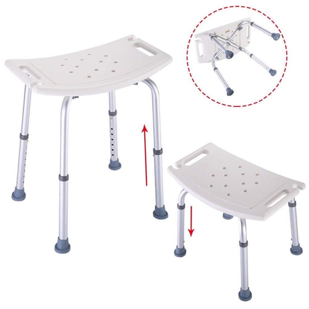 Shower Stool Goplus Bath Shower Chair Adjustable Medical 8 Height Bench Bathtub Stool Seat White New Modern Bathroom Shower Stools BA6929 Handicap Shower Seats for Adults