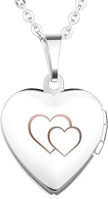 collier femme coeur graver