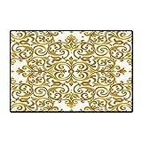 48 Inch Square Ottoman Kitchen Decor Floor Mat for Kids Victorian Golden Lace Antique Baroque Pattern Oriental Ottoman Royal Square Pattern Floor Mat Pattern 32