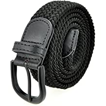 Braided Stretch Elastic Belt with Pin Oval Solid Black Buckle Leather Loop End Tip with 7 Sizes and 6 Colors Men/Women/Junior