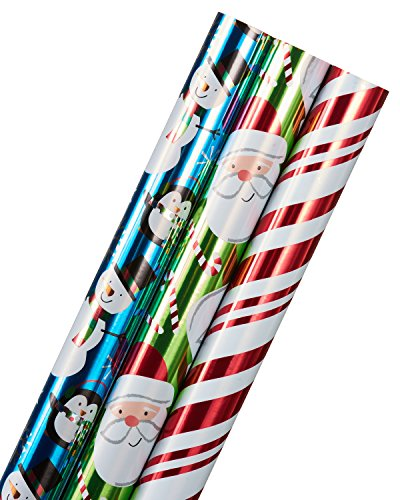 American Greetings Holiday Friends, Candy Cane Stripes, and Santa Christmas Foil Wrapping Paper, 3-Roll, 40