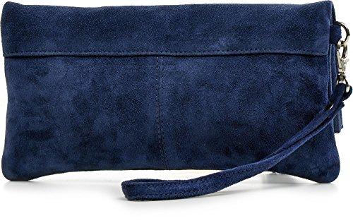 CNTMP - bolso para señora, clutches, clutch, bolsos de mano, bolsos, bolsos de fiesta, bolsos de tendencia, gamuza, ante, bolso de cuero (grande, azul de mar), 32x17x2,5cm (l x an x a)
