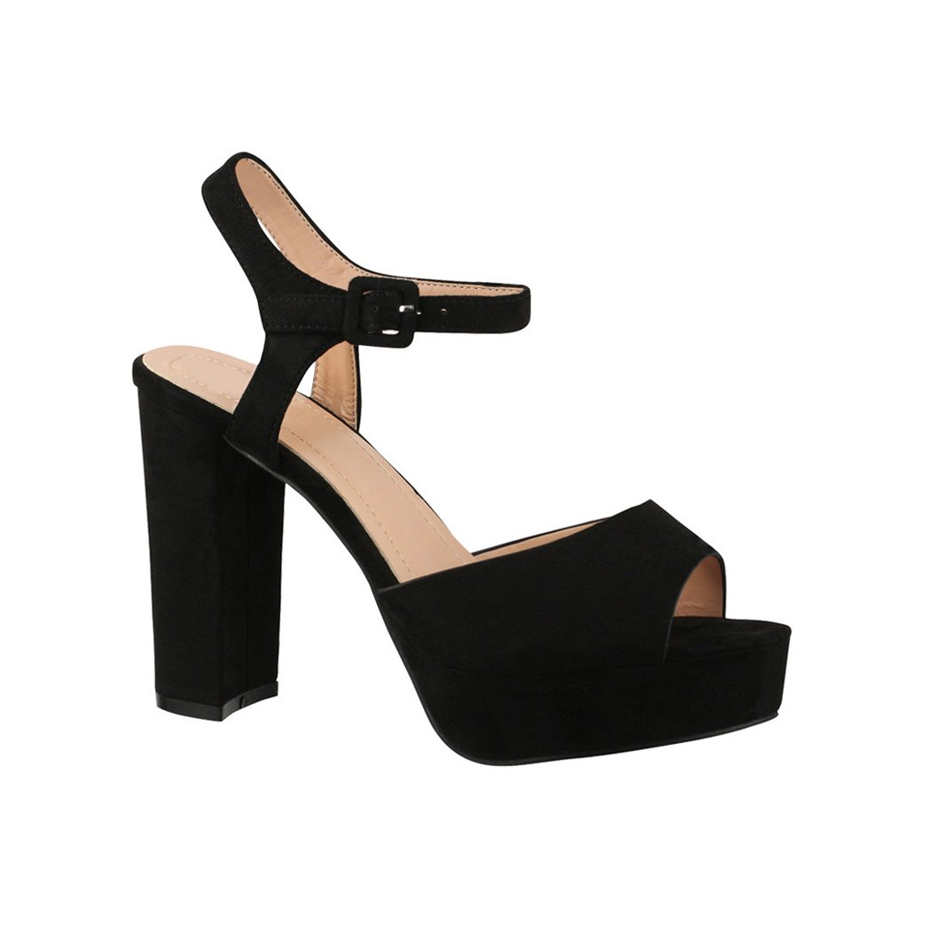 Elara Damen Pumps | Bequeme Peep-Toe Sandalette | Trendige Plateau High Heels | Chunkyrayan Schwarz London