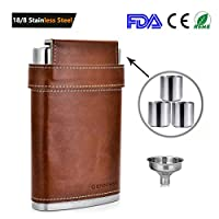 GENNISSY 304 18/8 Stainless Steel 8oz Flask - Brown Leather with 3 Cups and Funnel 100% Leak Proof