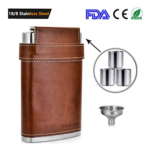 GENNISSY Pocket Hip Flask 8 Oz with Funnel - Stainless Steel with Leather Wrapped Cover and 100% Leak Proof