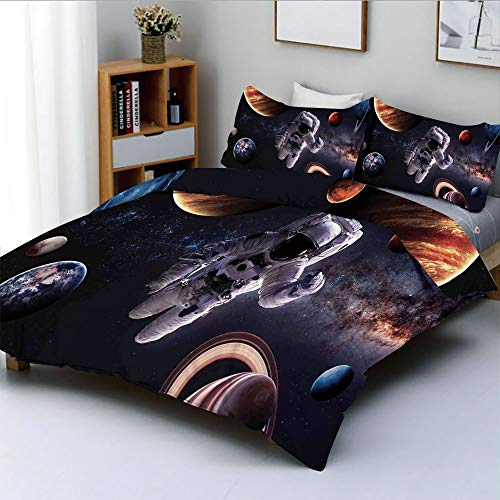 Jupiter Computer Cart - Duplex Print Duvet Cover Set King Size,Astronaut Between Planets Mars Neptune Jupiter Plasma Ethereal Sphere PictureDecorative 3 Piece Bedding Set with 2 Pillow Sham,Multi,Best Gift for Kids & Adult
