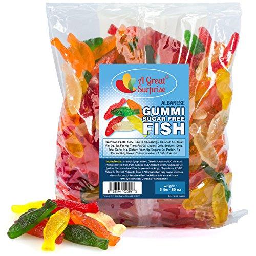 Gummy Fish Candy - Sugar Free Gummi Fish - Assorted, Bulk Candy Gummies 5 LB