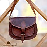 "Leather Native 9"" Women's Durable Genuine Leather Purse Gypsy Bag Crossbody College Students, Women Handbag Shoulder Travel Satchel Tote Bag 7x9x3 Inches Brown Summer Sale!"