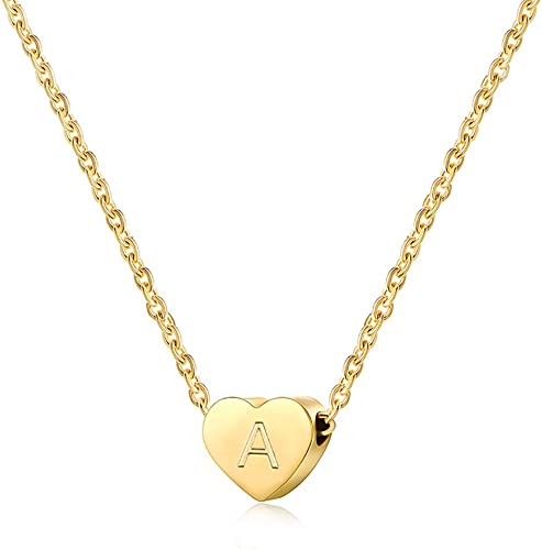 Sterling Silver Womens 1mm Box Chain Small Love Letter Sealed Hearts Pendant Necklace