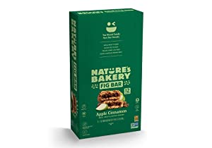 Nature's Bakery Whole Wheat Fig Bars, Apple Cinnamon, 1- 12 Count Box of 2 oz Twin Packs (12 Packs), Vegan Snacks, Non-GMO